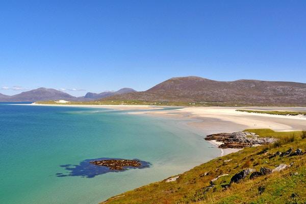 Hvit sandstrand på Isle of Harris, Ytre Hebridene, Skottland, Storbritannia.