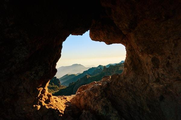 Utsikt fra grotte på Gran Canaria.