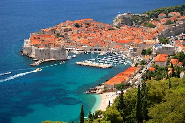 Oversiktsbilde over havnen i  Dubrovnik.
