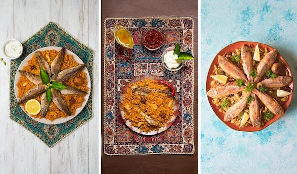 Collage fra forskjellige bilder av Fish Kabsa - blandede risretter som har sin opprinnelse i Yemen. Midtøsten mat.