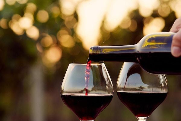 To rødvinsglass som fylles opp på en vingård