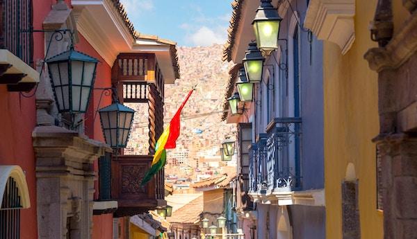 Gamle kolonibygninger på Jaen Street i La Paz, Bolivia