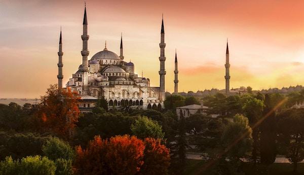 Den blå moske i Istanbul, Tyrkia.