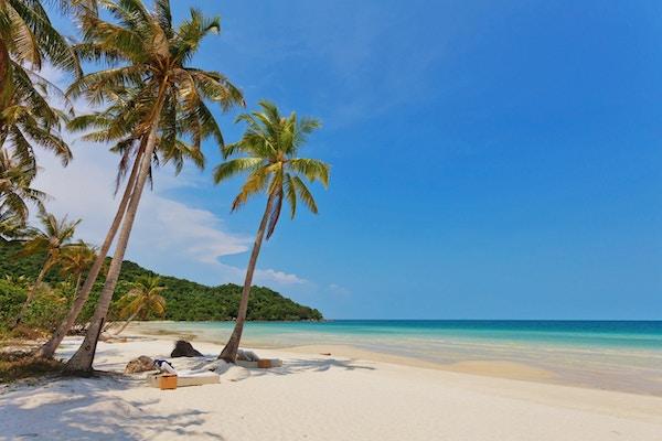 Vakker tropisk strand med salonger og palmer under blå himmel på Phu Quoc-øya i Vietnam.