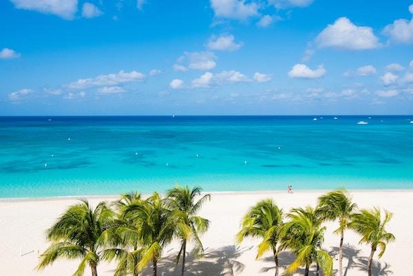 Seven Mile Beach med palmetre og karibisk turkist vann