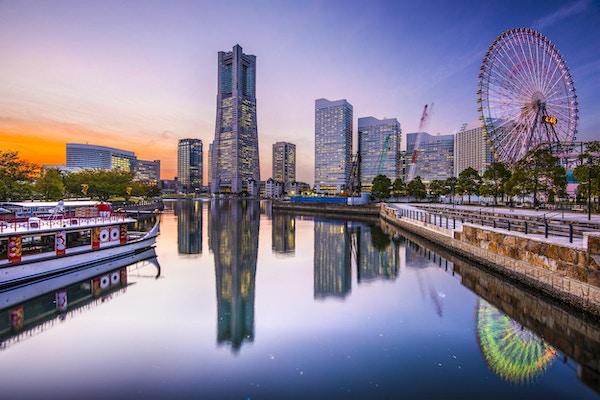 Yokohama, Japan, skyline, ved, Minato Mirai, strandpromenade.