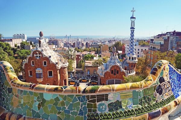 Park Guell i Barcelona. Park Guell ble bestilt av Eusebi Güell og designet av Antonio Gaudi.