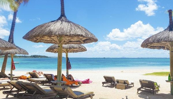 Strand på Mauritius.