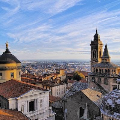 Bergamo, utsikt fra rådhusstårnet, Lombardia, Italia