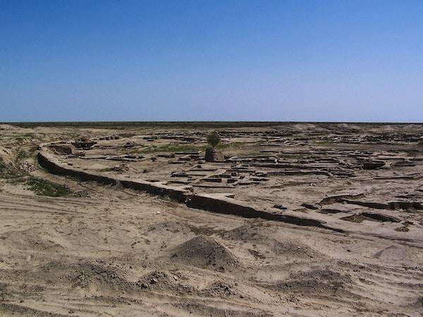 De lave ruinene av bronsealderbyen Gonur Tepe (eller Gonur Depe) i ørkenen nord for Mary, i det moderne Turkmenistan.