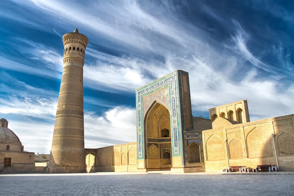 Minaretet og moskeen Kalyan i Bukhara, Usbekistan