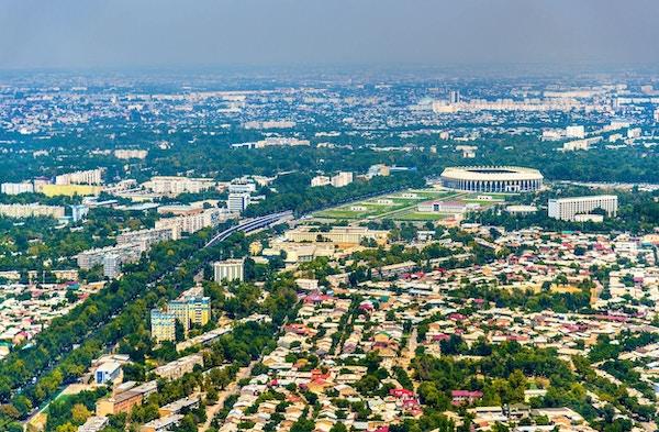 Flyfoto av Tasjkent, hovedstaden i Usbekistan