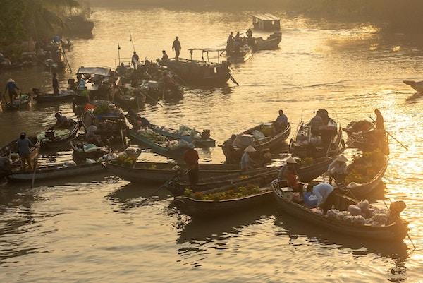 Can Tho, Vietnam 30. Jan 2019. Phong Dien flytende marked veldig kjent i Mekong delta.