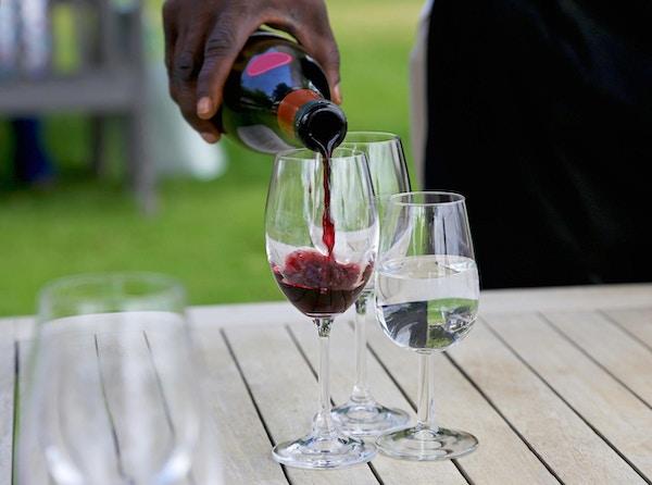 Servitør helle rødvin i et glass for vinsmaking, et glass vann også på bordet.