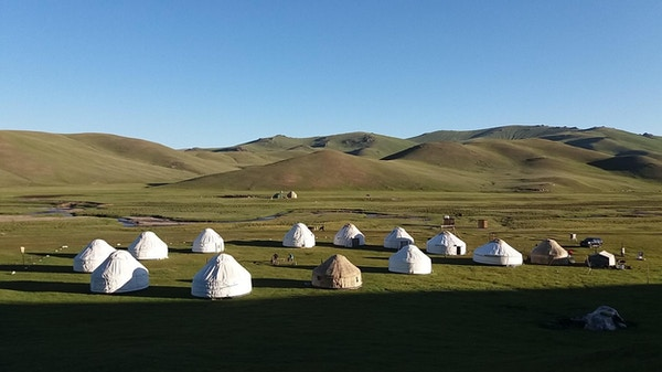 Tradisjonelle telt i Song Kul, Kirgisistan