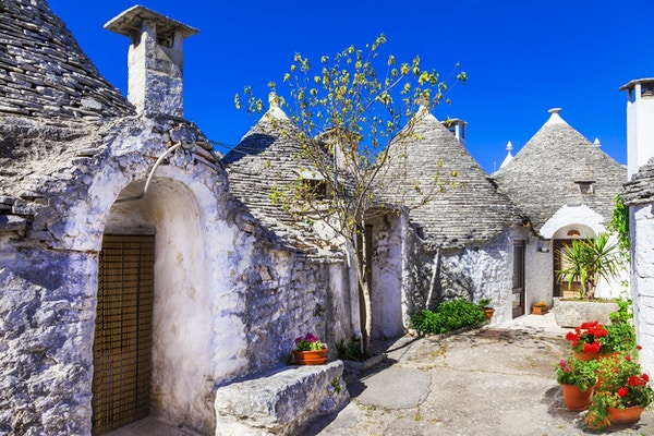 Unike Trulli-hus i Alberobello, Puglia, Italia.