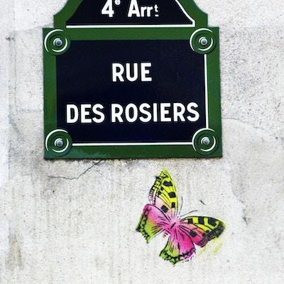 Gatenavnsskilt i paris med sommerfugletegningen under. Rue des Rosiers er en av de kjente gatene i det jødiske og homofile Marais-distriktet i Paris, Frankrike