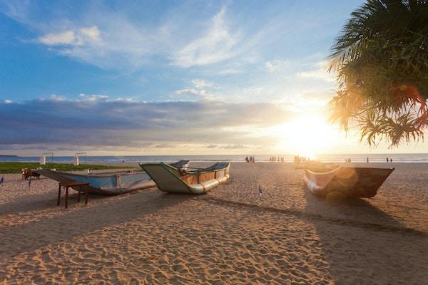 Ahungalla, Sri Lanka, Asia - Tradisjonelle langbåter som tørker ved Ahungalla Beach under solnedgang