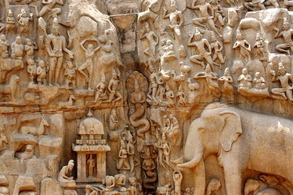Arjuna's Penance - Avstamning fra Ganges-skulpturen, Mahabalipuram, India