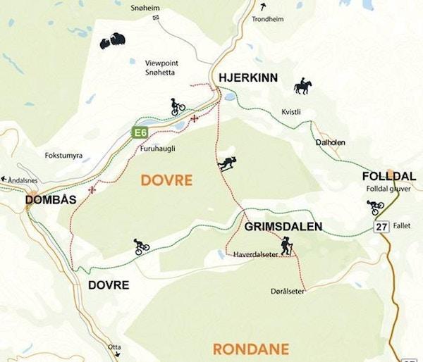 Oversiktskart over Dovre Nasjonalpark