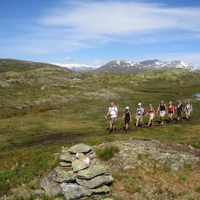 En gruppe stivandrere på tur mellom Vigdal og Engedal