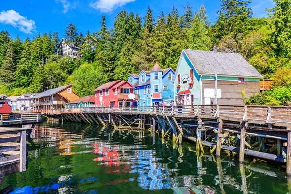 Ketchikan, Alaska. Creek Street, den historiske broadwalk.