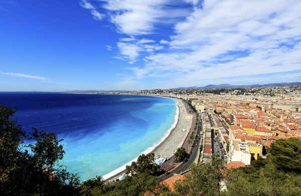 luftfoto av stranden i Nice Frankrike