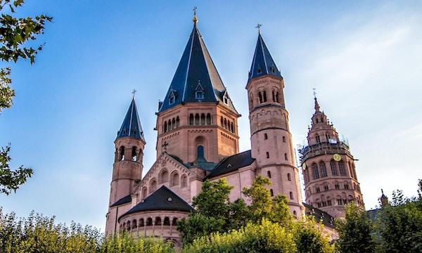 Katedral med spir, omgitt av busker. Foto.