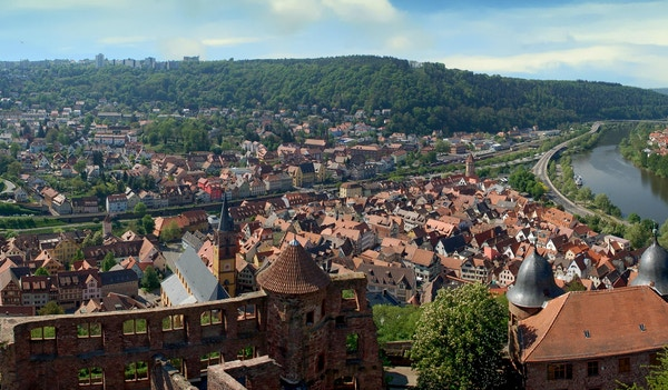 Panoramautsikt over Wertheim am Main, Tyskland