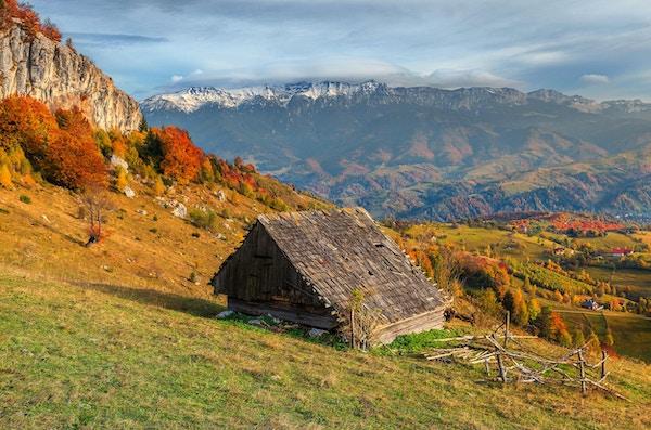Fantastisk høstalpinlandskap, berømt alpin landsby med spektakulær trehytte og høye snødekte fjell i bakgrunnen nær Bran, Magura, Transylvania, Romania, Europa