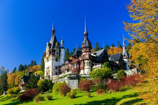 Peles slott i Muntenia-regionen, Romania. Sinaia, Prahova fylke.