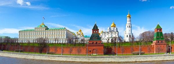 Panorama av Moskva-kreml, på en solrik dag