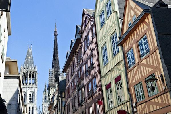 Halvtømmerhus i Rouen, Normandie, Frankrike