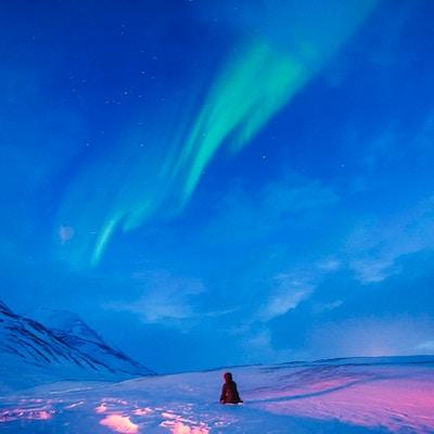 Vakkert nordlys på en stjerneklar himmel