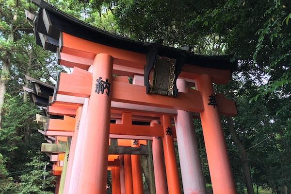 Røde søyler med japanske bokstaver