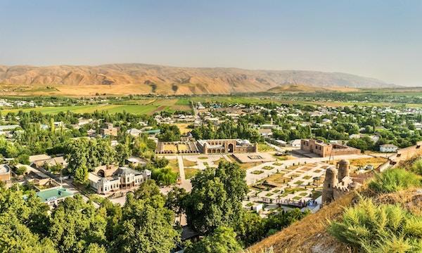 Utsikt fra Hisor festning i Tadsjikistan, Sentral-Asia