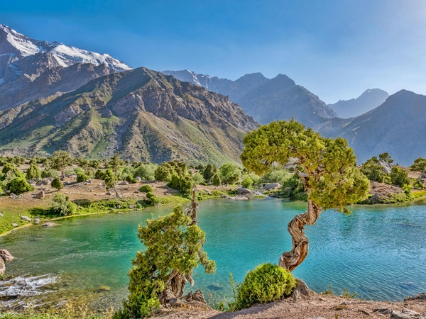 Fjellvann med turkis vann og einer i solskinn på en svaberg. Fann Mountains, Tadsjikistan, Sentral-Asia