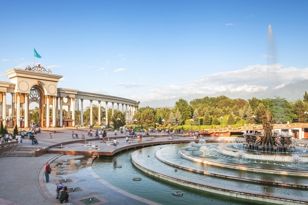 Fontene ved Almaty, Kasakhstan. Parken til den første presidenten i Kasakhstan.