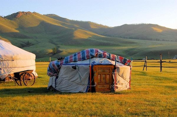 En jurt i den mongolske steppen
