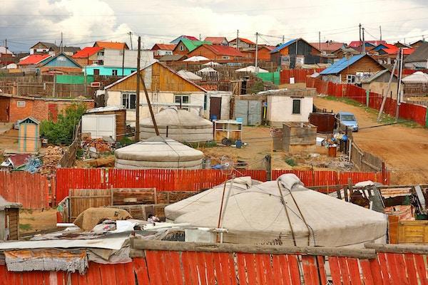 Fattige husstander i utkanten av Ulaanbaatar, Mongolias hovedstad