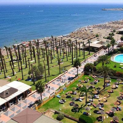Strand med badegjester, palmer og promenade