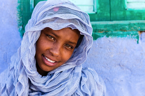 Beautiful Muslim girl in Nubian Village near Aswan, Southern Egypt, Africa