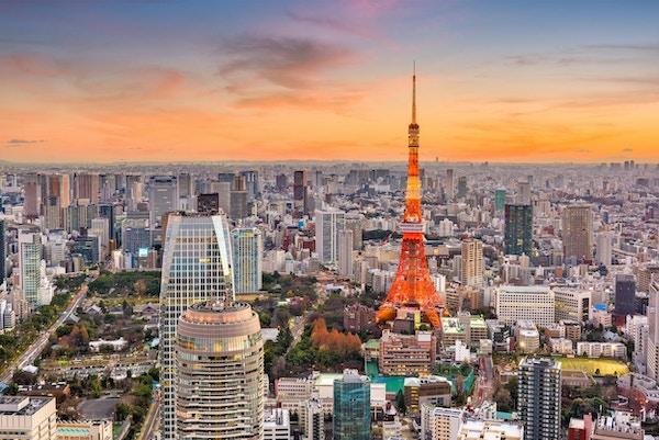 Tokyo, Japan, bybilde og tårn i skumringen.