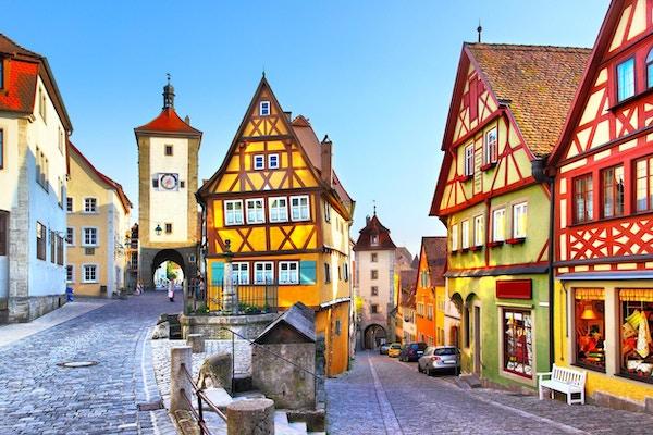 Den mest berømte gaten i Rothenburg ob der Tauber, Bayern, Tyskland
