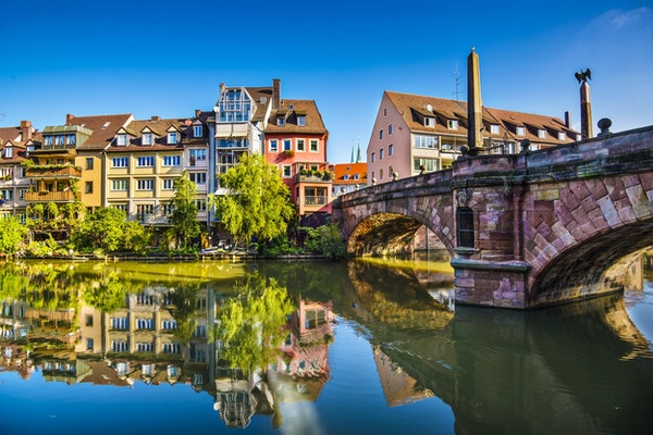 Gamlebyen i Nürnberg ved Pegnitzelven