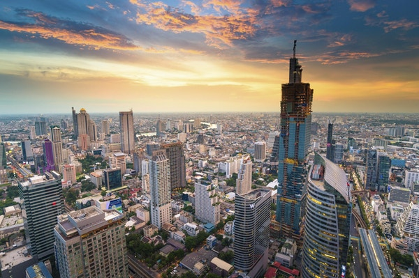 Panoramautsikt over det urbane landskapet i Bangkok Thailand