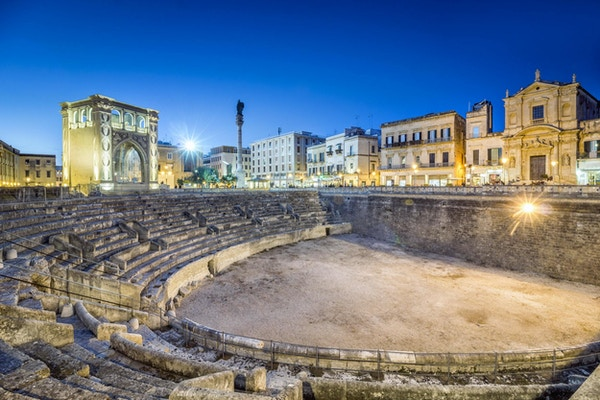 Gamle amfiteater i sentrum av Lecce, Puglia, Italia