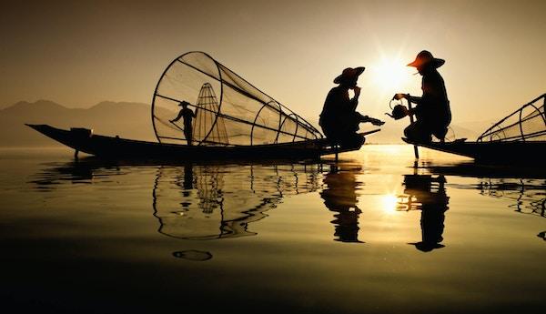 fiskere på Inle-sjøen, Myanmar.