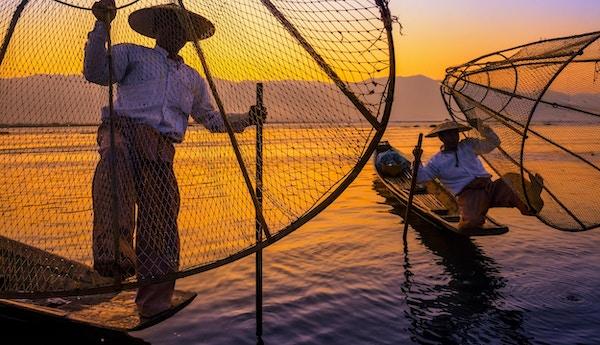 Fiskere på sihouetter ved Inle- innsjøen ved solnedgang, Myanmar