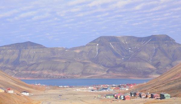 Luftfoto av Longyearbyen, Svalbard